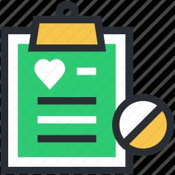 clipboard, medical report, medications, medicine chart, prescription icon