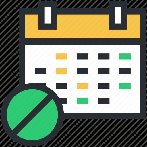 calendar, medicine schedule, medicine time, treatment duration, treatment time icon