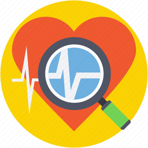 ecg, ekg, heart checkup, heart diagnoses, searching heart icon