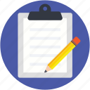 clipboard, medical report, patient report, pen, prescription icon
