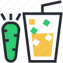 carrot, carrot juice, drink glass, healthy drink, soft drink icon
