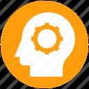 brainstorming, cog, gear, head, logic, strategy