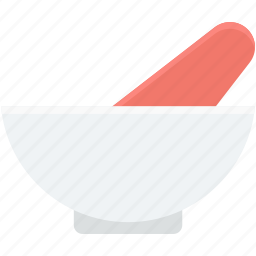 herbal medicine, medicine bowl, mortar, pestle, pharmacy tool icon