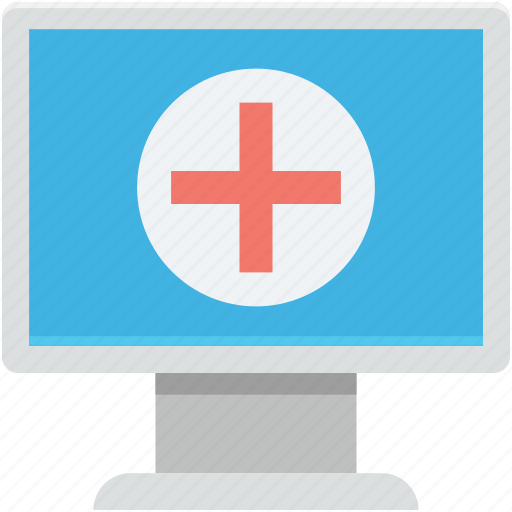 hospital, hospital records, monitor, online aid, online first aid icon