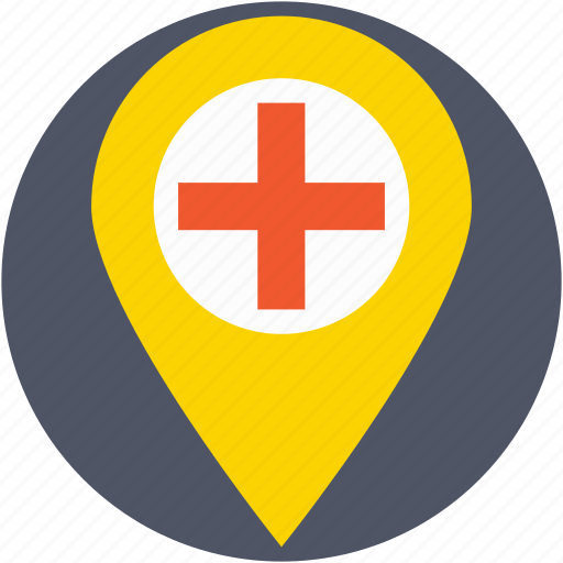 health clinic, hospital location, hospital pin, location pin, map pin icon