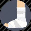 feet plaster, foot, fracture, injury plaster, limb plaster