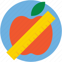 apple, diet, dieting, measuring tape, weight loss icon