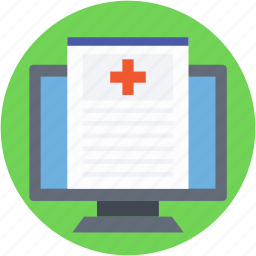 hospital records, monitor, online aid, online first aid, prescription icon