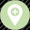 hospital map pin, location marker, location pin, location pointer, locator, map marker