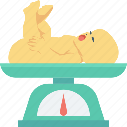 baby weight, infant, newborn baby, weighing, weight scale icon