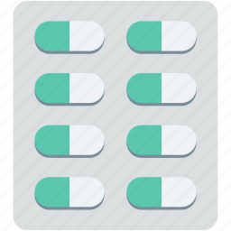capsule, drugs, medical pills, medication, pills strip icon