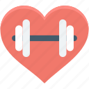 dumbbell, exercise, fitness, health, heart icon