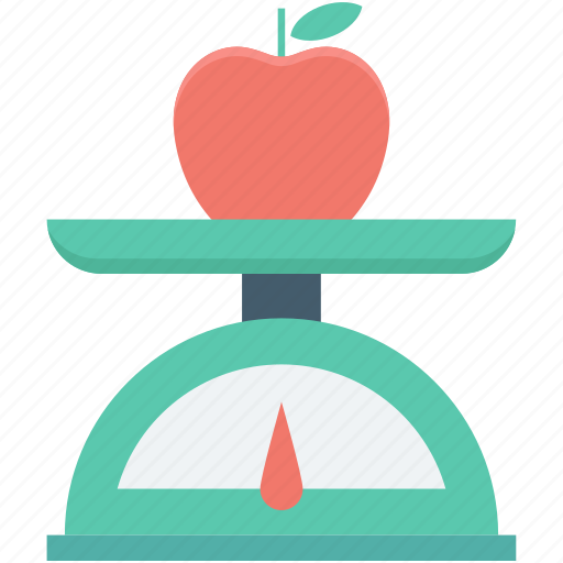 apple, food scale, kitchen gadget, kitchen scale, weight scale icon