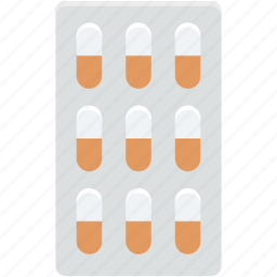 capsule, drugs, medical pills, medicines strip, pills strip icon