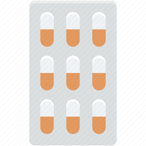 capsule, drugs, medical pills, medicines strip, pills strip icon