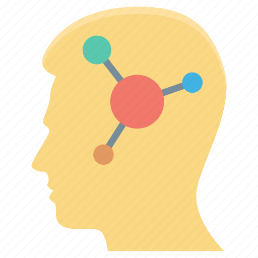 atom, brainstorming, human head, science, strategy icon