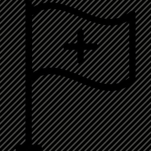 ensign, flag, hospital, hospital flag, insignia icon