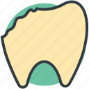 broken tooth, damaged tooth, dental calculus, dental caries, dental illness icon