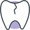cracked tooth, damaged tooth, dental calculus, dental caries, dental illness icon