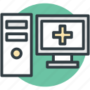 computer, hospital computer, hospital records, online aid, online first aid icon