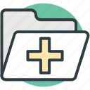 folder, hospital data, hospital documents, hospital record, medical folder icon