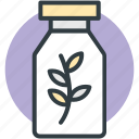 botany experiment, bottle, lab experiment, lab jar, leaf in jar icon