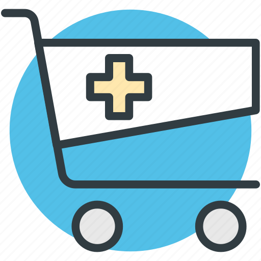 medicine supply, pharmaceutical delivery, pharmacy cart, pharmacy logo, shopping trolley icon