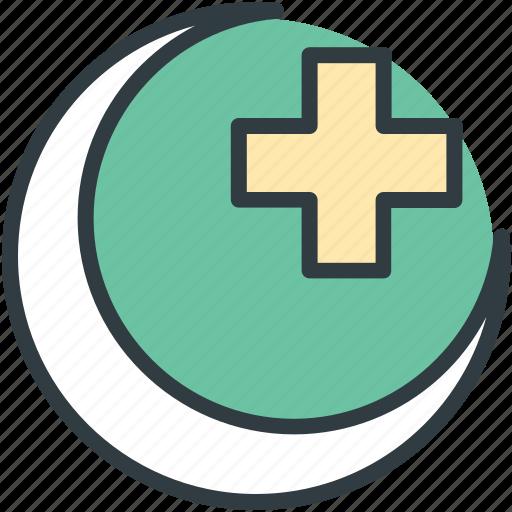 hospital logo, hospital sign, hospital symbol, medical cross, moon icon