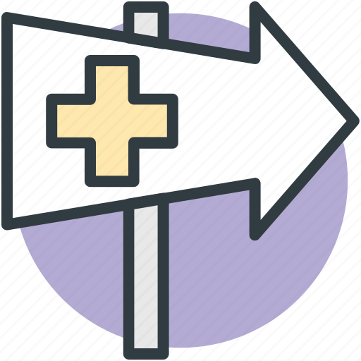 direction post, hospital, hospital guidepost, hospital signpost, medical center icon