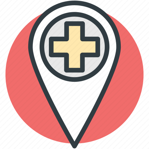 health clinic, hospital direction, hospital location, hospital pin, location pin icon