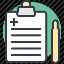clipboard, medical chart, medical report, medications, prescription icon