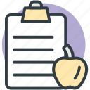 apple, clipboard, diet chart, diet plan, healthy diet icon
