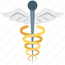 caduceus, medical logo, rod of asclepius, star of life, symbol of hermes icon
