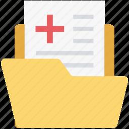 data storage, documents, folder, hospital, hospital record, medical, medical folder icon