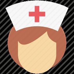 avatar, female nurse, hospital, medical assistant, midwife, nurse, profession icon