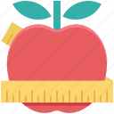 apple, dieting, healthy diet, healthy food, measuring tape icon