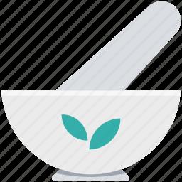 herbal medicine, medicine bowl, mortar, pestle, pharmacy tool icon