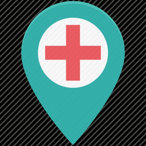 health clinic, hospital location, hospital pin, location pin, map pin icon