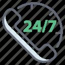 24hr support, customer center, customer support, helpline services, telephone service icon