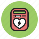 aed, battery, defibrillator, heart, hospital, medical, supplies icon