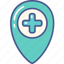 gps, hospital, location, medical, pin icon