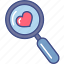 diagnosis, health, healthscare, heart, magnifier icon