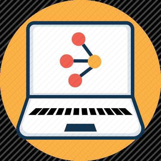 atom, dna, laptop, laptop screen, molecule, science icon