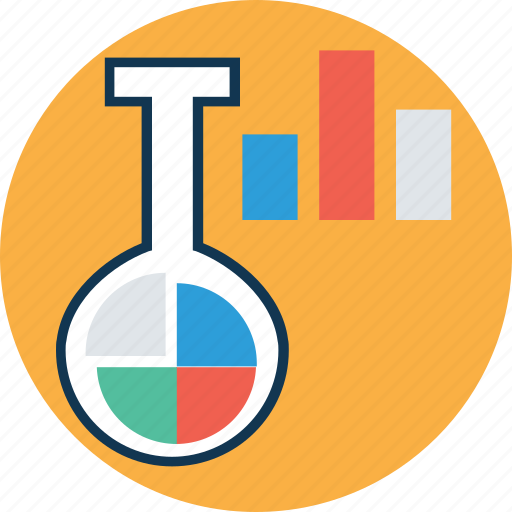 beaker with graph, lab analytics, lab experiment, lab research, laboratory, sample tube, test tube icon