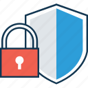 antivirus, firewall, lock, protection shield, security shield, shield, shield with lock icon