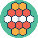 atom, biology, compound, hexagons, molecule, molecule structure icon