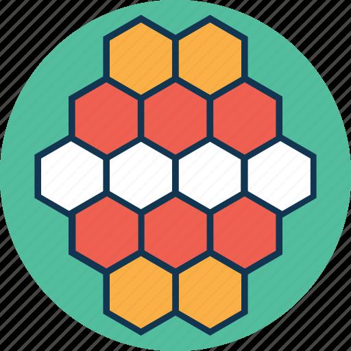 atom, biology, compound, hexagons, molecule, molecule structure icon