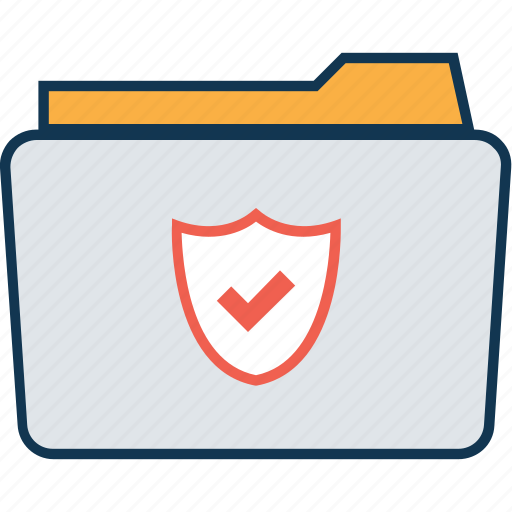 data, data folder, file folder, folder, folder protection, folder with shield, secured folder, storage icon
