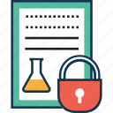document, experiment paper, experiment sheet, lab sheet, lab sheet with lock, report, sheet, text icon
