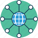 global, global hierarchy, global network, globe with sitemap, hierarchical network, network icon